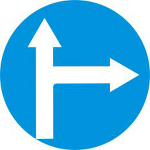 Biển báo hiệu các xe chỉ được đi thẳng và rẽ phải