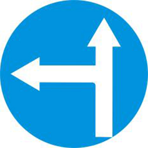 Biển báo hiệu các xe chỉ được đi thẳng và rẽ trái