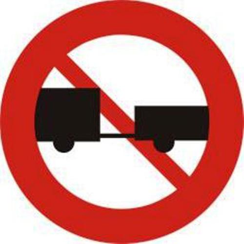 Biển báo cấm ôtô, máy kéo kéo moóc hoặc sơ mi rơ moóc