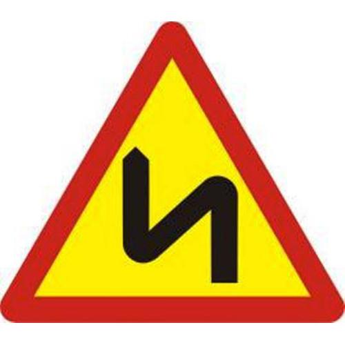 Biển báo hiệu nhiều chỗ ngoặt nguy hiểm liên tiếp bên trái