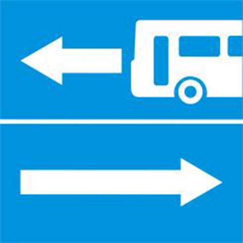 Biển báo rẽ ra đường có làn đường dành cho ôtô khách R.413b