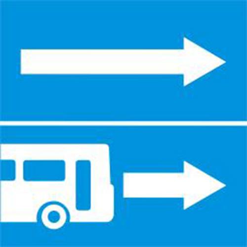 Biển báo rẽ ra đường có làn đường dành cho ôtô khách R.413a